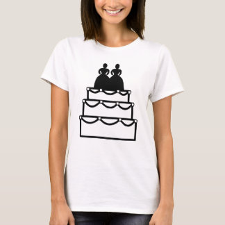 Gay Marriage Lesbian Love Wedding Cake Engagement T-Shirt