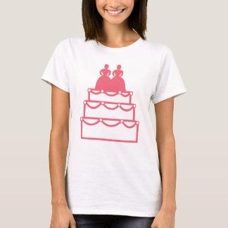 Gay Marriage Lesbian Wedding Cake Commitment Pink T-Shirt