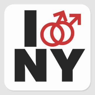 Gay Marriage New York Square Sticker