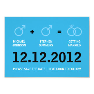 Gay Marriage Save the Date Male Version Card