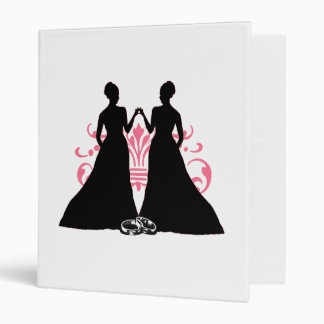 Gay Marriage Two Brides Pink Binder