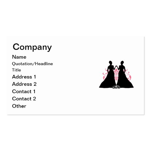 Gay Marriage Two Brides Pink Business Card Templates