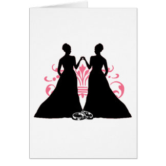 Gay Marriage Two Brides Pink Card