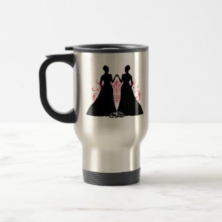 Gay Marriage Two Brides Pink Travel Mug