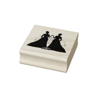 Gay Marriage Two Brides Rubber Stamp