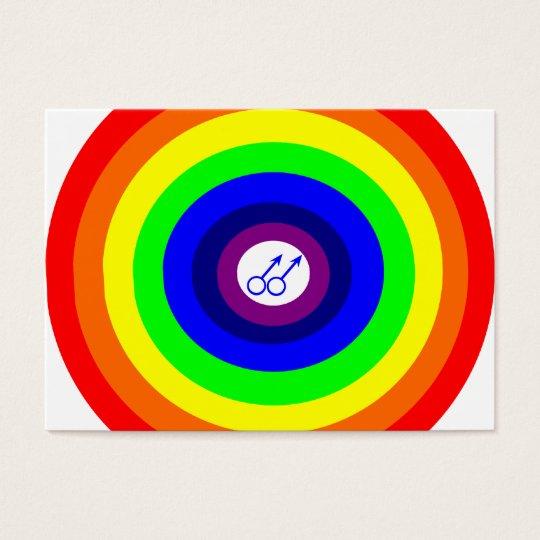 Gay Men Round Rainbow Call Me Card