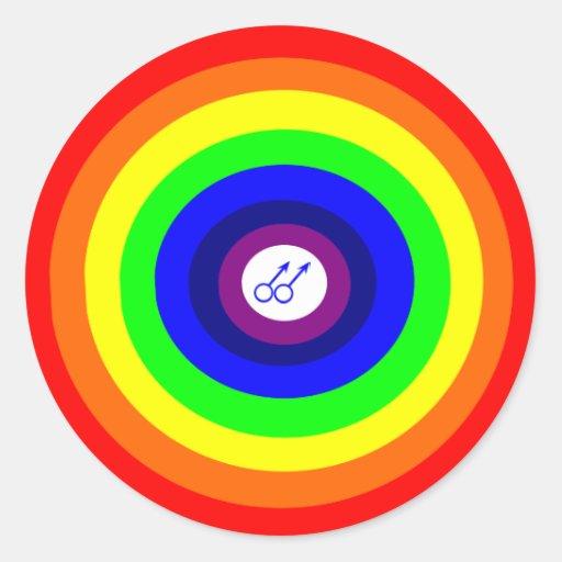Gay Men Round Rainbow Sticker