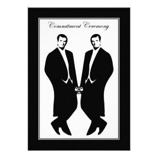 Gay Men Wedding Invitation. Commitment Ceremony