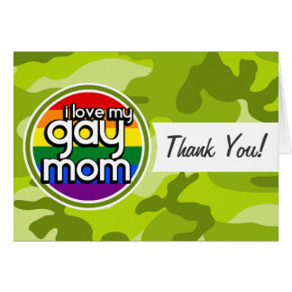 Gay Mom bright green camo camouflage Greeting Cards