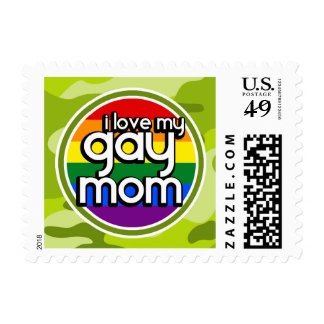 Gay Mom bright green camo camouflage Stamp