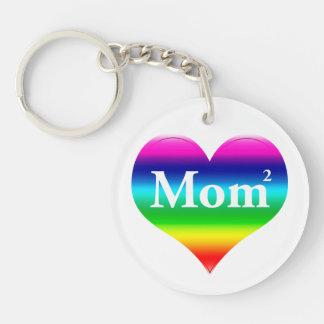 Gay Mom Squared LGBT Single-Sided Round Acrylic Keychain