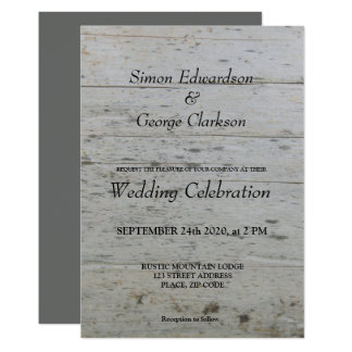 Gay Mr & Mr driftwood Wedding invitation