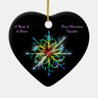 Gay Newly Weds First Christmas Pride Snowflake Ceramic Ornament