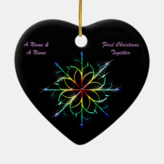 Gay Newly Weds First Christmas Pride Snowflake Double-Sided Heart Ceramic Christmas Ornament