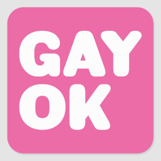 GAY OK Big Bold Letters Customizable Color Square Sticker