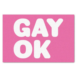 """GAY OK Big Bold Type Statement Customizable Color 10"""" X 15"""" Tissue Paper"""