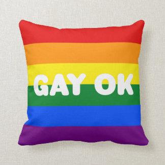 GAY OK Big Statement LGBT Gay Pride Rainbow Flag Throw Pillow
