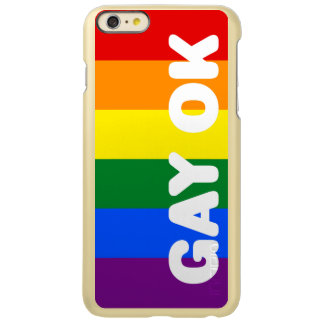GAY OK Big White Logo LGBT Gay Pride Rainbow Flag Incipio Feather® Shine iPhone 6 Plus Case