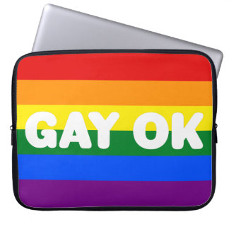 GAY OK Big White Logo LGBT Gay Pride Rainbow Flag Laptop Sleeve
