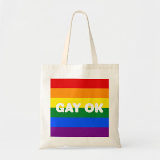 GAY OK Big White Logo LGBT Gay Pride Rainbow Flag Tote Bag