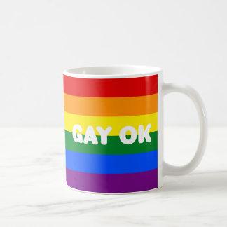 GAY OK Big White Logos LGBT Gay Pride Rainbow Flag Coffee Mug