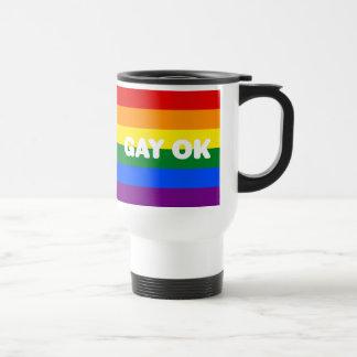 GAY OK Big White Logos LGBT Gay Pride Rainbow Flag Travel Mug