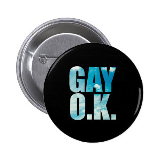 Gay OK Funny Hipster Cloud Text 2 Inch Round Button