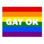 GAY OK LGBT 6-Stripe Rainbow Gay Pride Flag Postcard