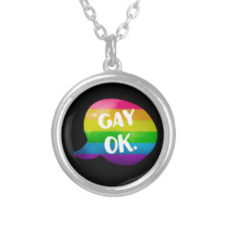 Gay Ok LGBT Pride Silver Plated Necklace