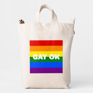 GAY OK Logo LGBT 6-Stripe Rainbow Gay Pride Flag Duck Bag
