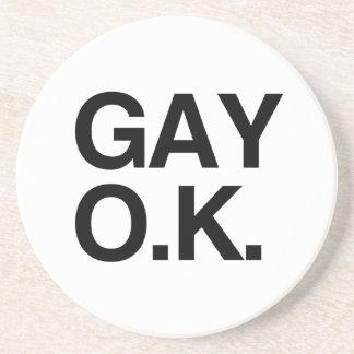 GAY OK -.png Beverage Coaster