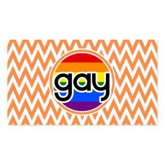 Gay; Orange and White Chevron Business Card