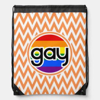 Gay; Orange and White Chevron Drawstring Bag