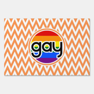 Gay; Orange and White Chevron Lawn Sign