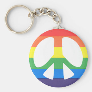 gay peace basic round button keychain