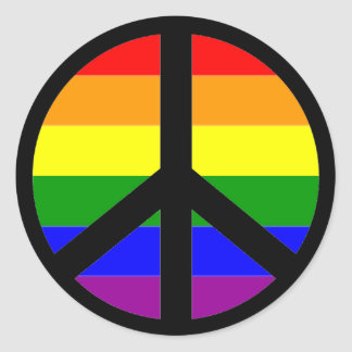Gay Peace Sign Classic Round Sticker
