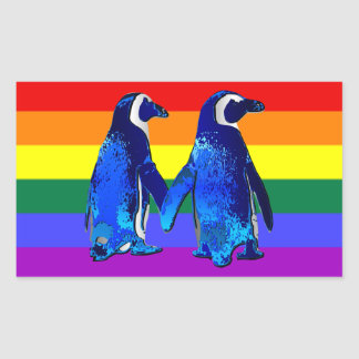 """Gay Penguin Couple"" Rectangular Stickers"