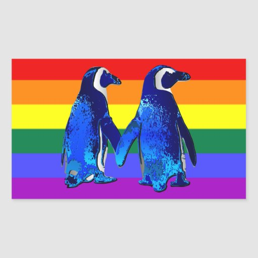 """Gay Penguin Couple"" Rectangular Stickers"