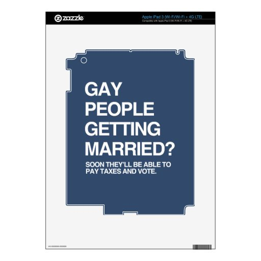 GAY PEOPLE GETTING MARRIED DECALS FOR iPad 3