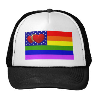 gay pride america two heart wedding ring hat
