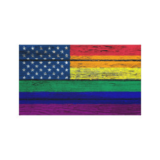 Gay Pride American Rainbow Flag with Wood Effect Gallery Wrap Canvas