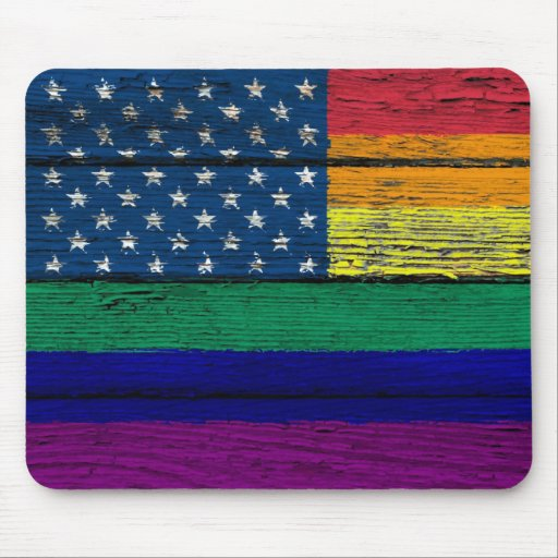 Gay Pride American Rainbow Flag with Wood Effect Mouse Pads