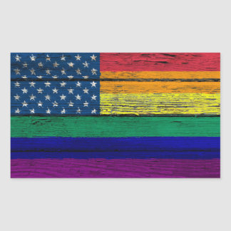 Gay Pride American Rainbow Flag with Wood Effect Sticker