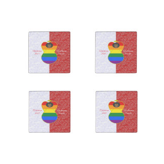Gay Pride Angel Flag African Red White Stone Magnet