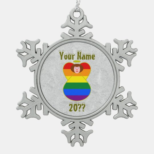gay pride angel rainbow flag auburn hair snowflake pewter christmas ornament - Gay Pride Christmas Decorations
