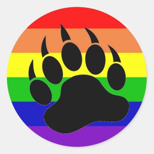 Gay Pride Bear Paw Classic Round Sticker