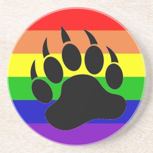Gay Pride Bear Paw Coaster