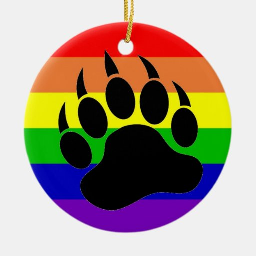 Gay Pride Bear Paw Double-Sided Ceramic Round Christmas Ornament