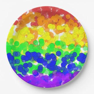 Gay Pride Bokeh Flag paper plate