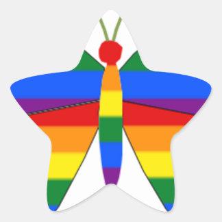 Gay Pride Butterfly Star Sticker